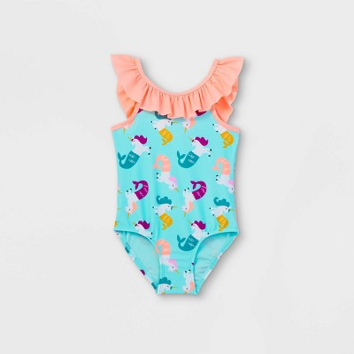 Toddler Girls' Mermicorn Print One Piece Swimsuit - Cat & Jack™ Turquoise