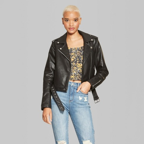 Women s Faux Leather Moto Jacket - Wild Fable™ Black   Target 7712122d03