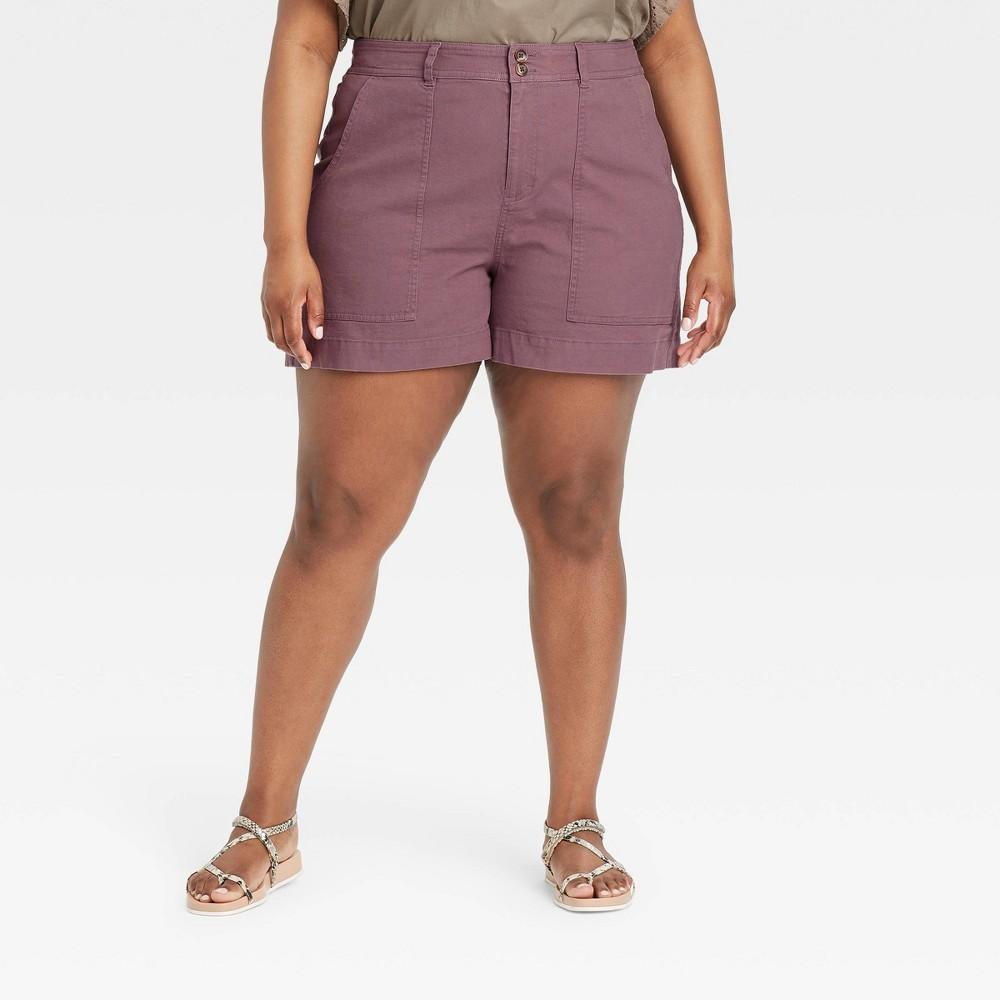 Women 39 S Plus Size High Rise Shorts A New Day 8482 Dark Purple 26w
