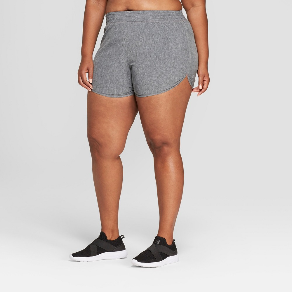 Women's Plus Size Running Mid-Rise Shorts 5 - C9 Champion Black Heather 3X