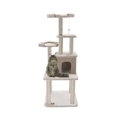 Majestic Pet Casita Faux Fur Activity Center Cat Scratcher Honey 64 in