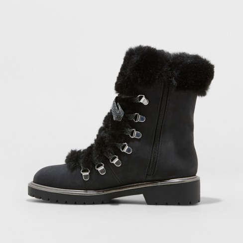 0424b5aafa1 Women s Neveah Faux Fur Lace Up Boots - A New Day™ Black 9   Target