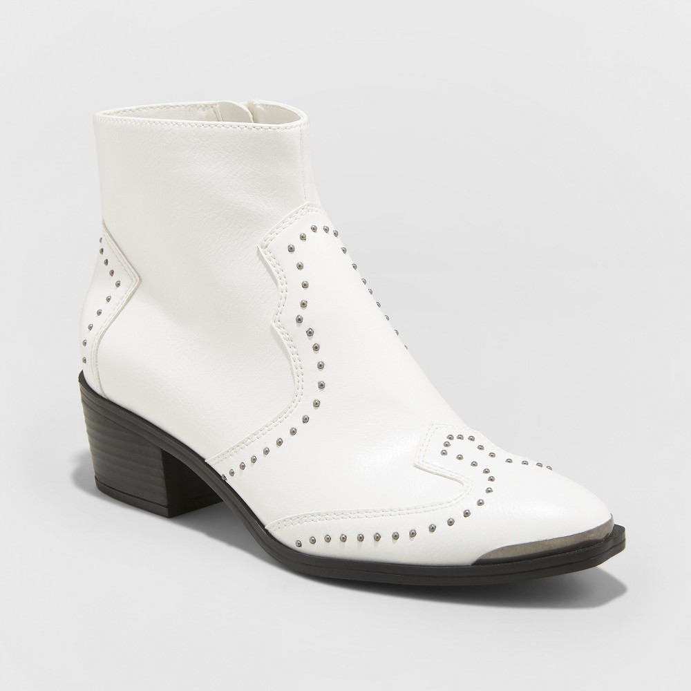 Women's Sariah Faux Leather Studded Western Bootie - Universal Thread White 8