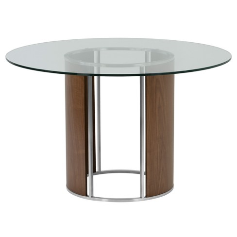Delano Round Dining Table In Brushed Stainless Steel With Gray Tempered Gl Top And Walnut Column Armen Living