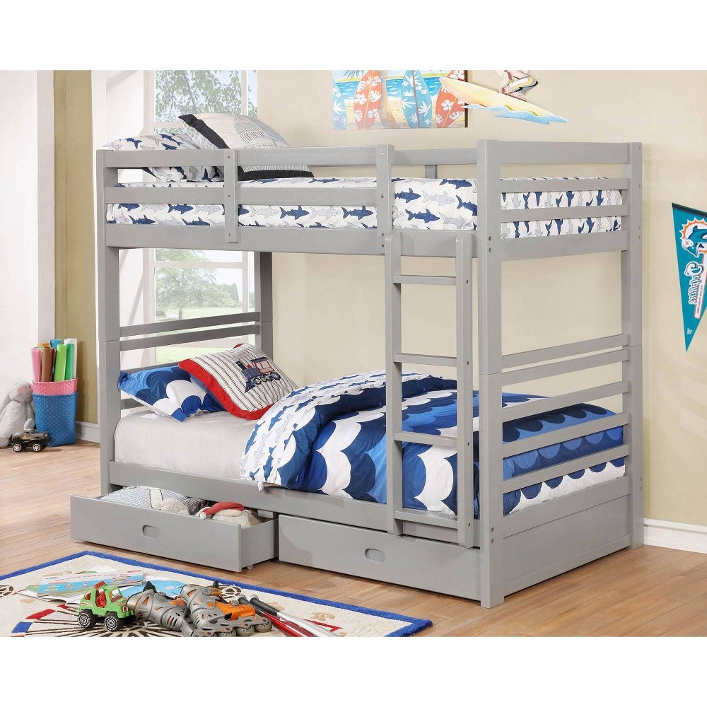 Image of Emma Kids Twin Over Twin Bunk Bed Gray - HOMES: Inside + Out
