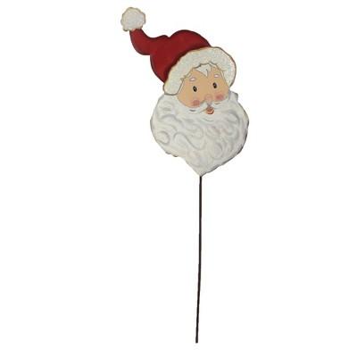 """Home & Garden 34.0"""" Santa St. Nick Face Christmas Santa Claus Round Top Collection  -  Decorative Garden Stakes"""