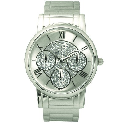Olivia Pratt Stainless Steel Crystal Detail Bangle Watch