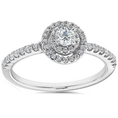 Pompeii3 3/4ct Double Halo Round Diamond Engagement Ring 10K White Gold