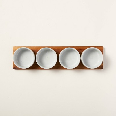 Wood Paddle with 4 Speckled Stoneware Bowls - Hearth & Hand™ with Magnolia