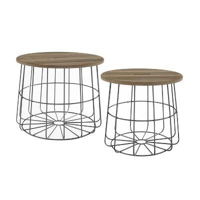 Cam Nesting Basket Table Natural - Linon