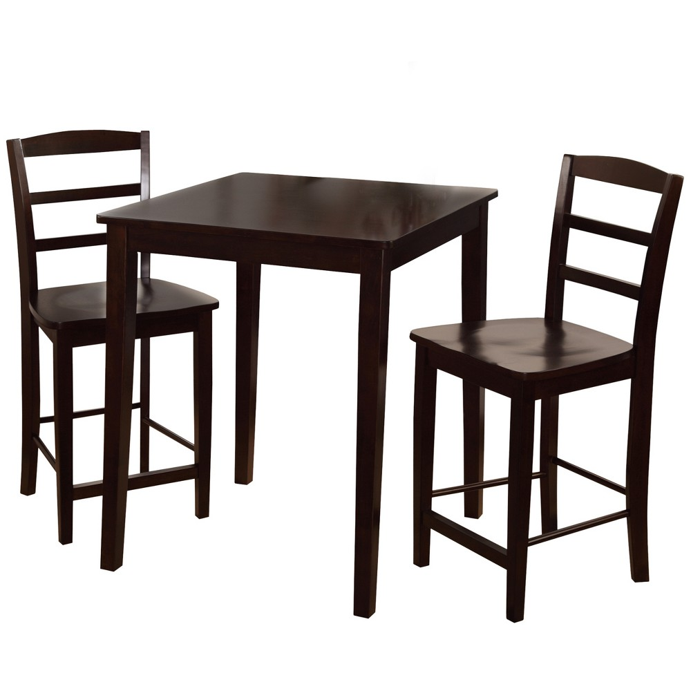30 Set of 3 Square Counter Height Table with 2 Madrid Stools Dark Brown - International Concepts