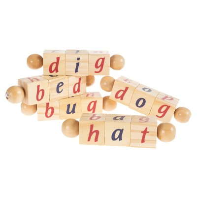 Twist Blocks-Early Learning Wooden Alphabet Letters Montessori Manipulative Toy-Educational Phonetic Rhyming Reading Words for Children by Toy Time
