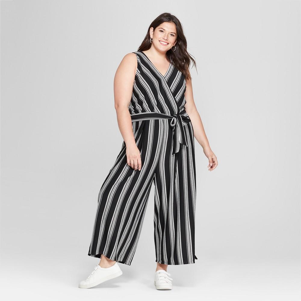 Women's Plus Size Striped Jumpsuit - Ava & Viv Black 4X
