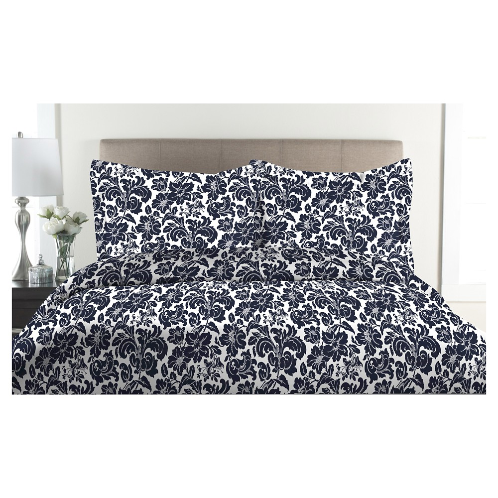 Image of 300tc Avalon 100% Cotton Print Duvet Set (Twin) Blue, Denim Blue