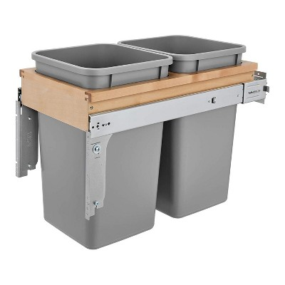 """Rev-A-Shelf 4WCTM-15BBSCDM2 Double 27-Qt Maple Top Mount Pull Out Waste Containers with Soft Close Slides for 12"""" Wide 1.5"""" Faceframe Cabinet, Silver"""