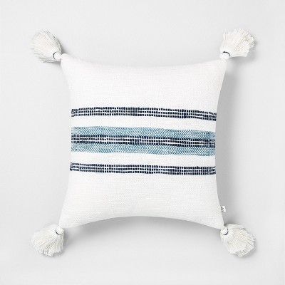 18x18 Center Slub Stripe Throw Pillow Blue / Sour Cream - Hearth & Hand™ with Magnolia