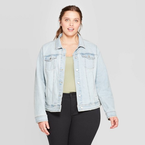 Women's Plus Size Freeborn Jean Jacket - Universal Thread™ Light Blue - image 1 of 3