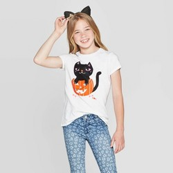 Girls' Short Sleeve Black Cat Halloween Graphic T-Shirt - Cat & Jack™ White