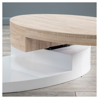 Maynard Circular Rotatable Coffee Table White And Oak   Christopher Knight  Home : Target