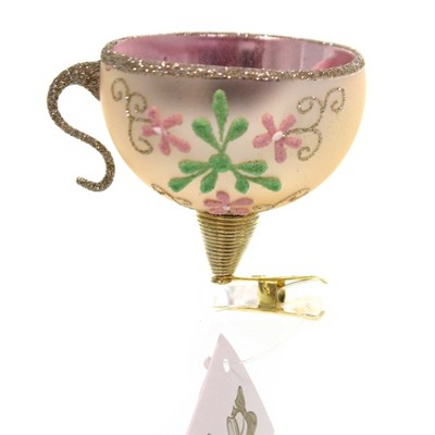"""Golden Bell Collection 2.0"""" Teacup Clip-On Hand Painted  -  Tree Ornaments"""
