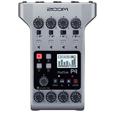 Zoom PodTrak P4 Podcast Recorder, Battery Powered, 4 Microphone Inputs, 4 Headphone Outputs, Phone Input, Sound Pads, Record to SD card, Audio Interface Mode