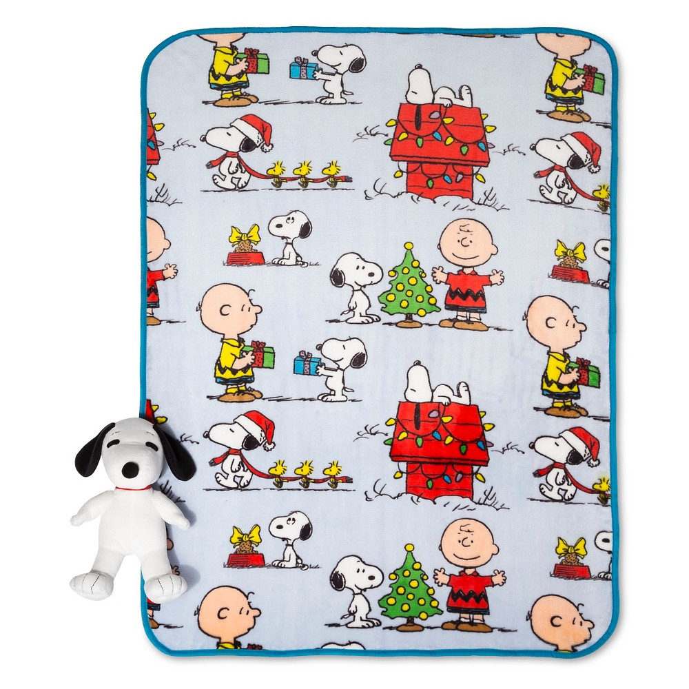 Throw Peanuts Pillow and Throw Set - Blue (50