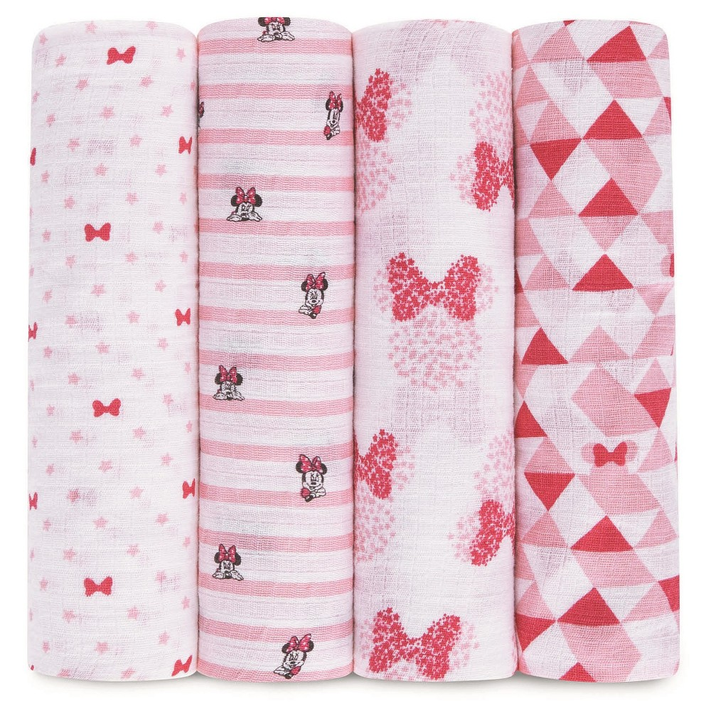 Image of Aden by Aden + Anais Muslin Swaddle - 4pk - Disney - Minnie
