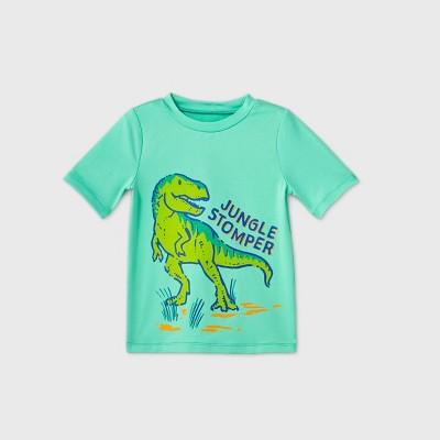 Toddler Boys' 'Jungle Stomper' Dino Short Sleeve Rash Guard Swim Shirt - Cat & Jack™ Turquoise 2T