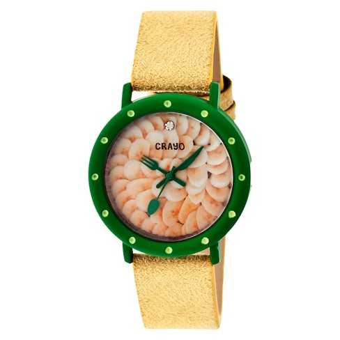 Women's Crayo Slice of Time Watch with Leather Suede-Overlaid Strap- Yellow - image 1 of 3