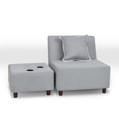 Tween Chair With Ottoman And One Pillow Gray   Kangaroo Trading by Kangaroo Trading