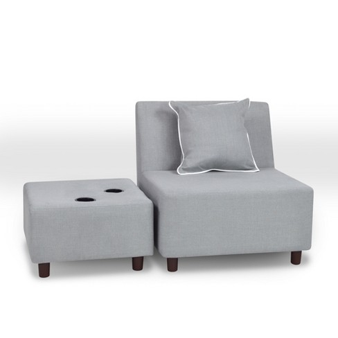 Tween Chair With Ottoman and One Pillow Gray - Kangaroo Trading - image 1 of 1