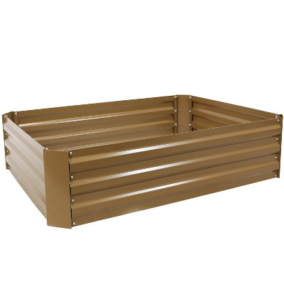 """Sunnydaze Hot Dip Galvanized Steel Raised Garden Bed for Plants, Vegetables, and Flowers - 47"""" L x 11.75"""" H - Brown"""