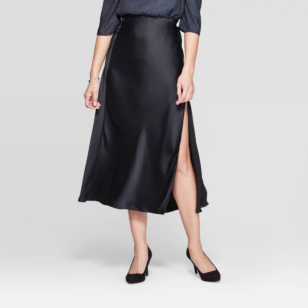 Image of Women's High-Rise Slit Midi Skirt - A New Day Black L, Women's, Size: Large