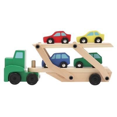 Melissa & Doug® Car Carrier Truck and Cars Wooden Toy Set With 1 Truck and 4 Cars