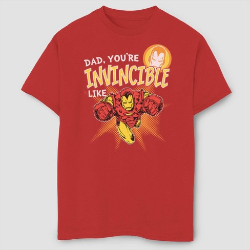 8271d1976 Boys' Marvel Iron Man Invincible Like Dad Short Sleeve T-Shirt - Red ...