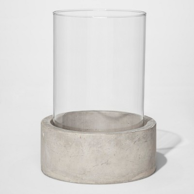 12.6  Round Glass Outdoor Lantern with Concrete Base - Project 62™