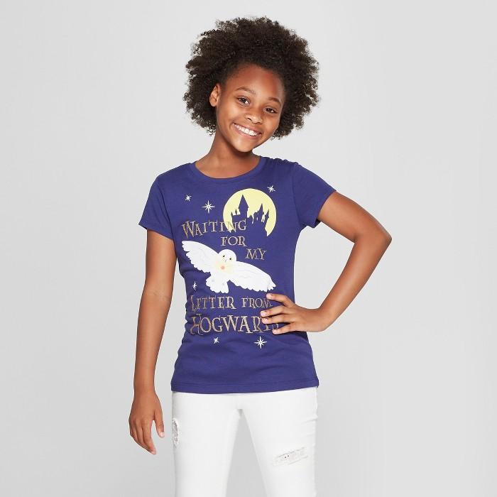 Girls' Harry Potter Letter Short Sleeve T-Shirt - Navy - image 1 of 3