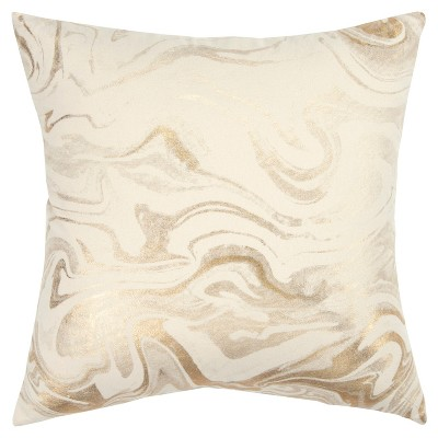Oversize Abstract Decorative Filled Square Throw Pillow Gold - Rizzy Home