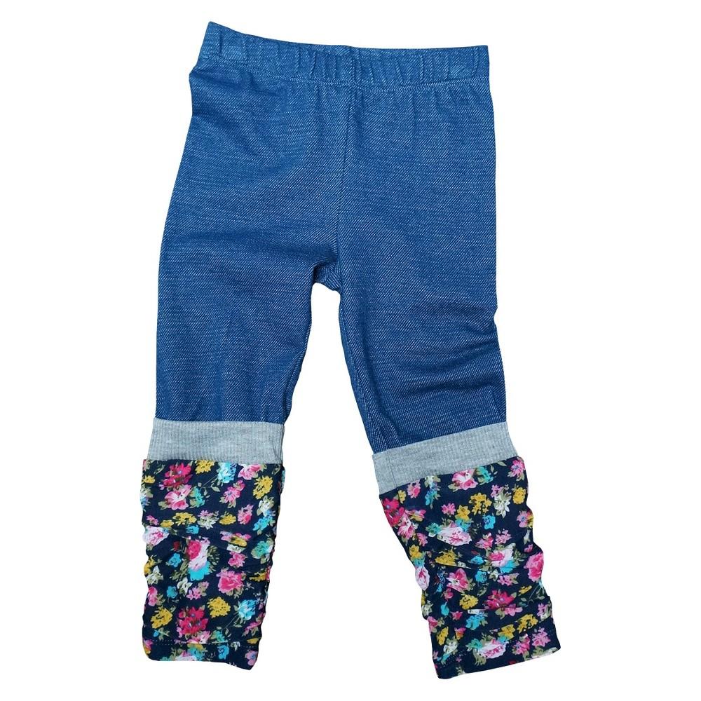 Image of Infant Toddler Girls' Faux Leg Warmer Jeggings - Floral Denim 18 M, Toddler Girl's, Size: Medium, Blue