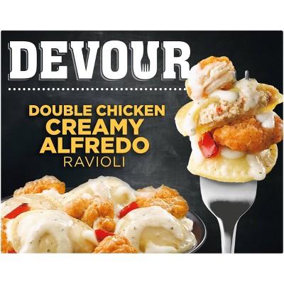 Devour Frozen Double Chicken Creamy Alfredo Ravioli  - 10oz