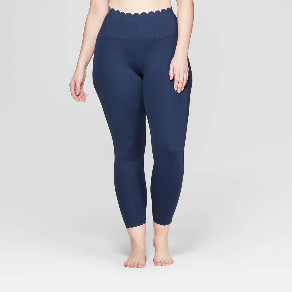 Image of Women's Plus Size Premium High-Waisted 7/8 Scallop Leggings - JoyLab Navy 3X, Size: Small, Blue