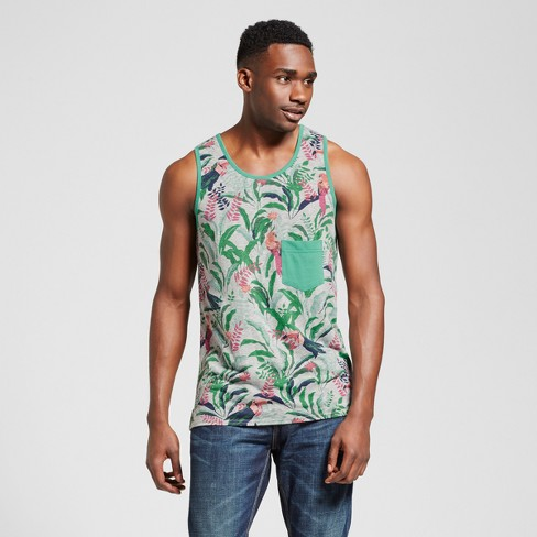 Men's Vented Hem Tank with Pocket - Mossimo Supply Co.™ Tropical Print M - image 1 of 2