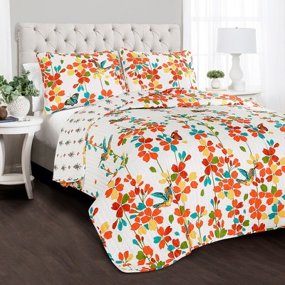 Full/Queen 3pc Weeping Flower Quilt Set Turquoise/Tangerine - Lush Décor