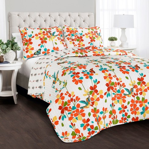 3pc Weeping Flower Quilt Set Turquoise/Tangerine - Lush Decor - image 1 of 5