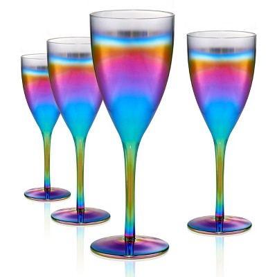 Artland 14oz 4pk Rainbow Goblet Glasses