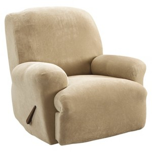 Cream Stretch Pique Slipcover Recliner - Sure Fit, Ivory