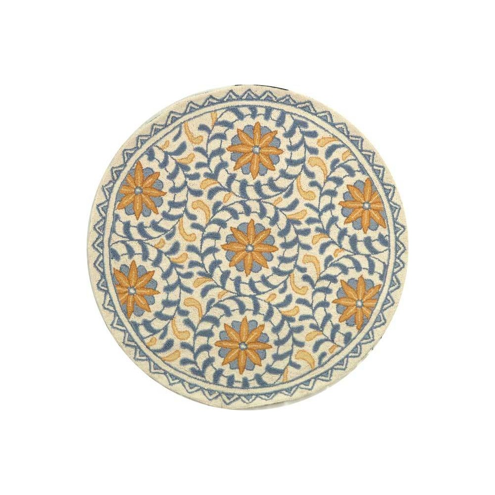 Ivory/Blue Floral Hooked Round Accent Rug 3' - Safavieh, Blue White