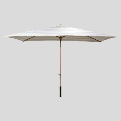 6.5' x 10' Rectangular Cabana Stripe Patio Umbrella Tan - Light Wood Pole - Threshold™