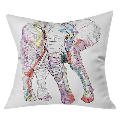 "White Casey Rogers Elephant Throw Pillow (20""x20"") - Deny Designs"
