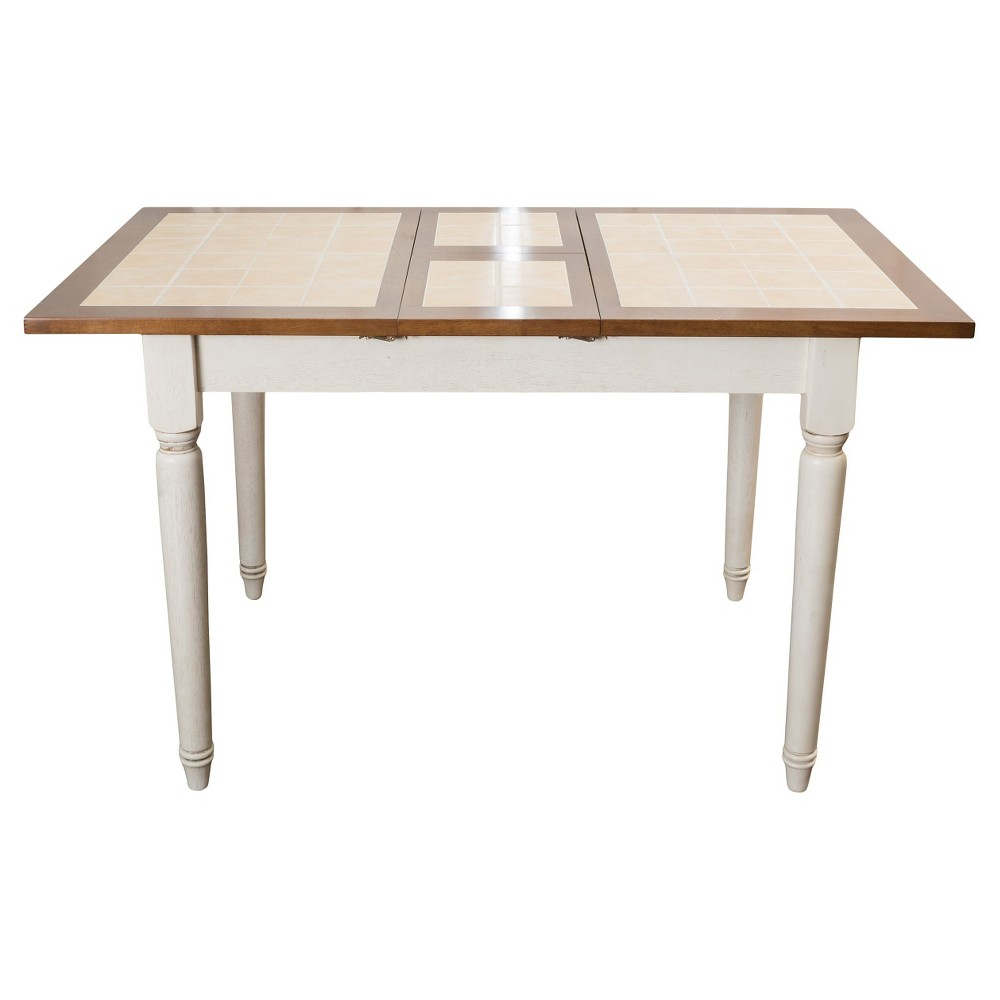 Clearwater Tile Dining Table w/ Leaf Extension Beige/White - Christopher Knight Home, Multi-Colored